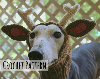 Reindeer Snood for Greyhounds Crochet Pattern (PATTERN ONLY)