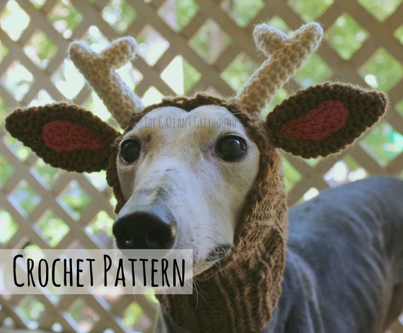 Reindeer Snood For Greyhounds Crochet Pattern Pattern Only Etsy