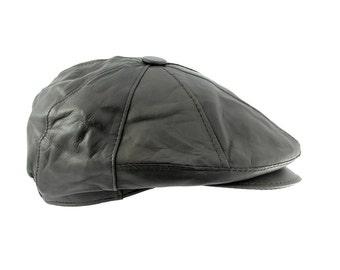 fef2020efe9 Mens Lambskin Geniune Leather Newsboy Cabbie Hat Cap
