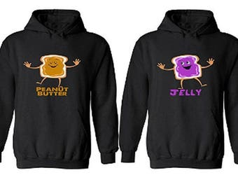 the best attitude 96aa0 c5b33 Peanut Butter   Jelly Couple Hoodies - His And Hers Boyfriend - Girlfriend  Matching Crewneck Hoodies ( Comes 2 Hoodies Men-Women)