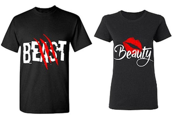 95fbe68082 Beast & Beauty Couple T-Shirts His And Hers Shirts Boyfriend | Etsy