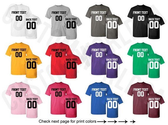 Customized Shirts Team Name Number UNISEX Personalized Text  bc8c82ba5