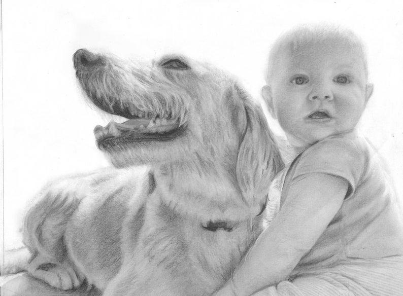 Custom Dog Drawing Drawing from Photo Custom Pet Portrait Pet portrait from Photo realistic pet drawing