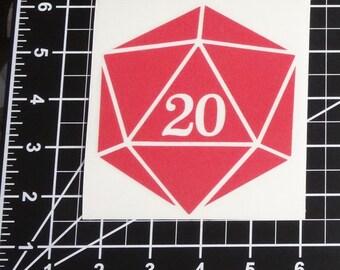 D20- Twenty Sided Dice - Vinyl Decal - Multiple Colors