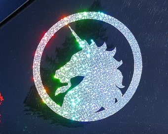 Sparkly Rainbow Glitter Unicorn - Decorative Film Decal
