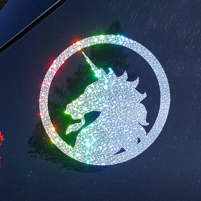 Sparkly Rainbow Glitter Unicorn  Decorative Film Decal image 0