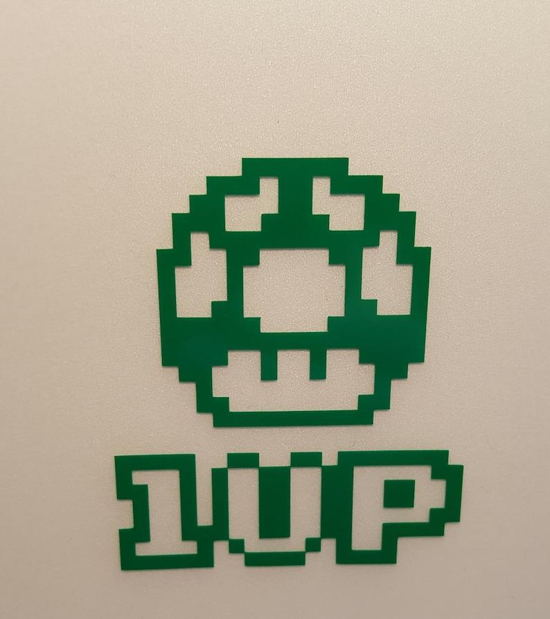 1up Mushroom  Arcade Game  Vinyl Decal  Multiple Colors image 0
