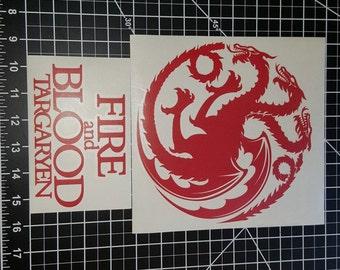 Targaryen Multiple Sizes - Vinyl Decal - Multiple Colors