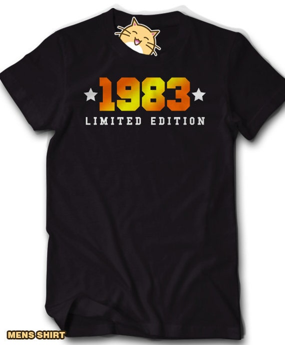 Birthday Themed Men/'s T-Shirt MADE IN 1983 Birth Date Birth Year