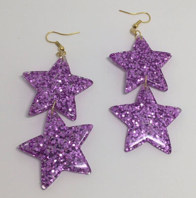 Double purple  pink oversized Star holo Glitter Charms Acrylic Earrings D204 Kitsch Fun 7.5cm Long