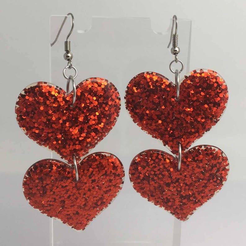 Double red oversized heart Glitter Charms Acrylic Earrings Kitsch Fun 8 cm Long