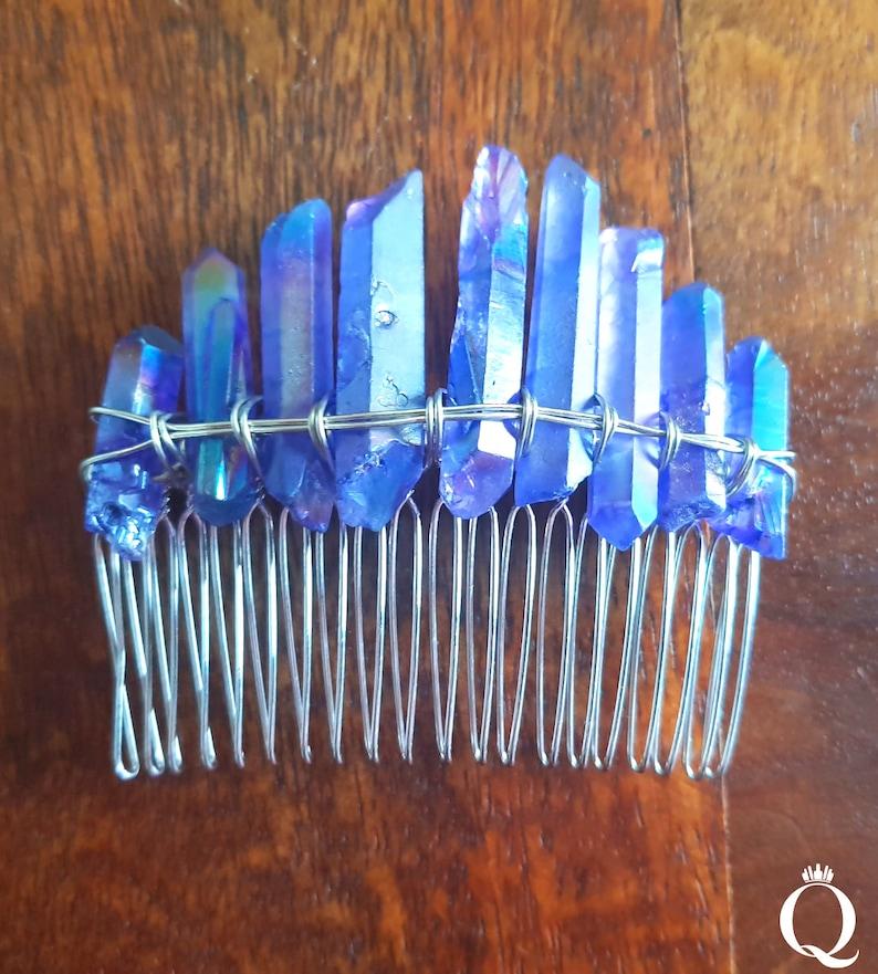 Bridesmaid hair comb Trending comb Quartz hairpiece Raw crystals comb Hair comb Blue Aura Quartz comb Mermaid comb Stone comb