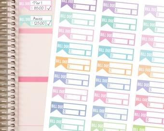 BILL DUE PASTEL Planner Stickers