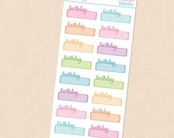 BIRTHDAY Script Stickers.