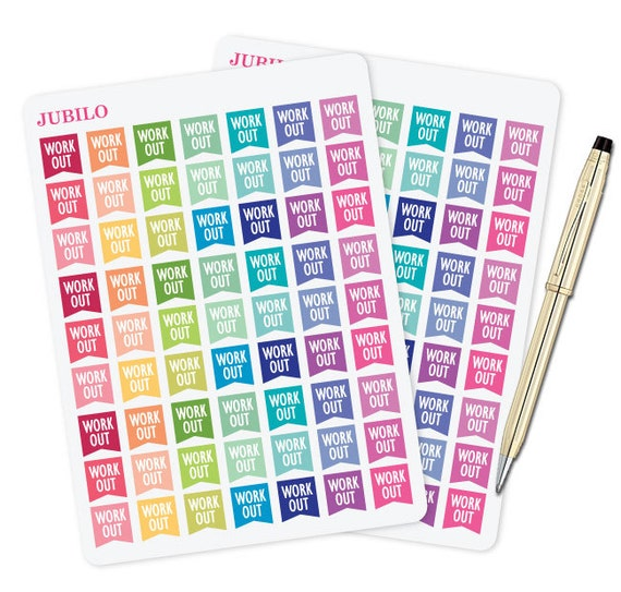 Planner Stickers Workout Flags Etsy
