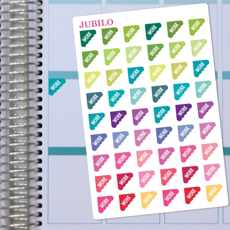 WORK STICKERS  SCALLOPED Corners.  Planner Stickers. image 0