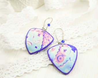 Cosmic earrings Cosmic jewelry Purple earrings Polymer clay Abstract earrings Space earrings for her Geometric earrings Shield earrings