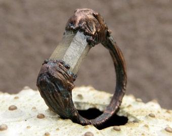 Smoky quartz ring | Quartz crystal ring | Rough quartz ring | Smoky quartz copper ring | Quartz bar ring | Raw quartz ring