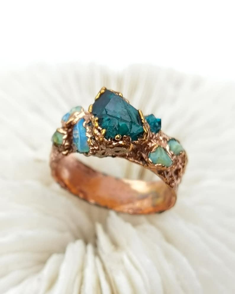 Dioptase crystal ring dioptase ring copper ring opal ring