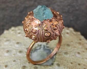 Rough aquamarine copper ring | Electroformed sea urchin ring | Copper urchin shell ring with aquamarine | Aquamarine ring