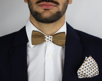 Wooden bow tie and pocket bag-Trimix