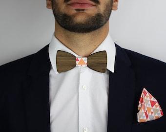 Wooden bow tie and pocket bag-Tigaya