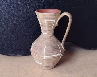 Stein Keramik 14-12 WGP mid-century design nice modernist West-Germany pottery ceramic vase with abstract relief decoration in fiery red