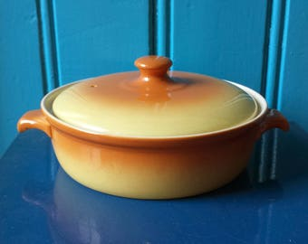 Petrus Regout: fifties casserole from the 'parafeu' line, minimalistic yellow/brown gradient, Maastricht, Netherlands