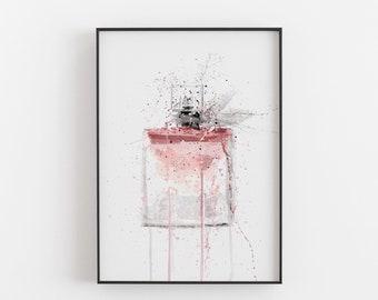 Fragrance Bottle Wall Art Print 'Pink' 0284