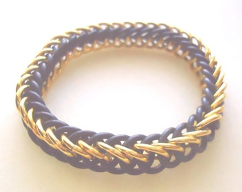 Gold & Black Stretchy Chainmail Woven Military Memorial / Support Bracelet, US Army (USA) Soldier Colors - Veterans Day