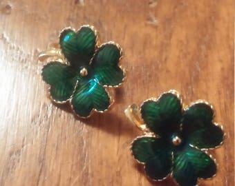 Four Leaf Clover Clip on Earrings