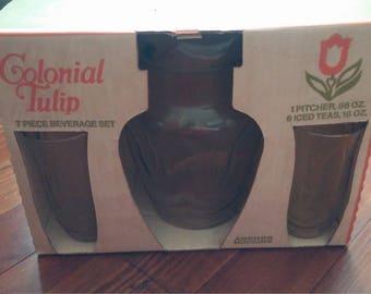 Vintage  Anchor Hocking Colonial Tulip 7 Piece Beverage Set