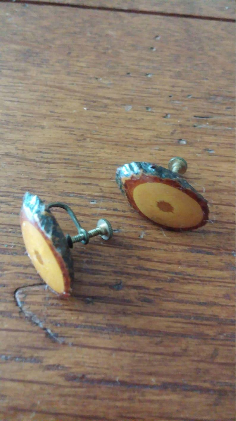 Wood Slice Screw Earrings