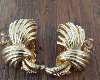 Gold Tone Clip Earrings with Citrine