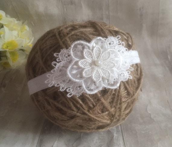 UK Baby off White Christening Headband Baptism Wedding Photo Prop Flower Lace