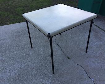 Rare Vtg Samsonite Shwayder Bros Beige Speckled Card Table Style 5916