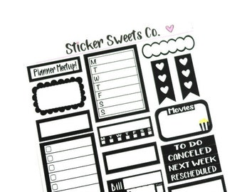 Monochromatic Black Functional Planner Stickers