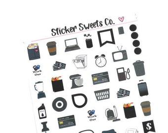 Monochromatic Black Icon Planner Stickers