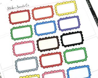 Ruffle Edge Half Box planner stickers