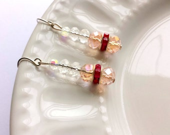 Pink crystal earrings, Pink sparkly earrings, Pink earrings, Sparkly crystal jewelry