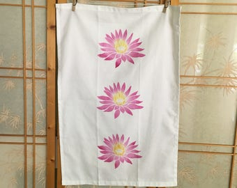 Lotus Dish Towel--Hand printed in Hawaii