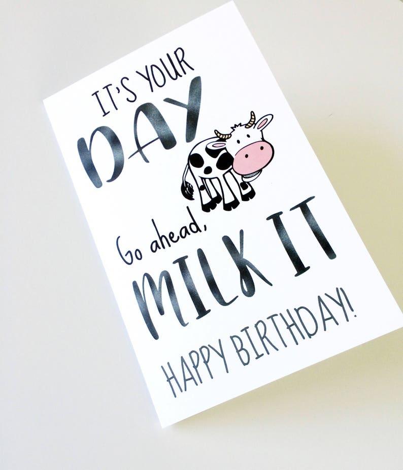 DIGTIAL Funny Cow Milk It Birthday Card Innapropriate Humor