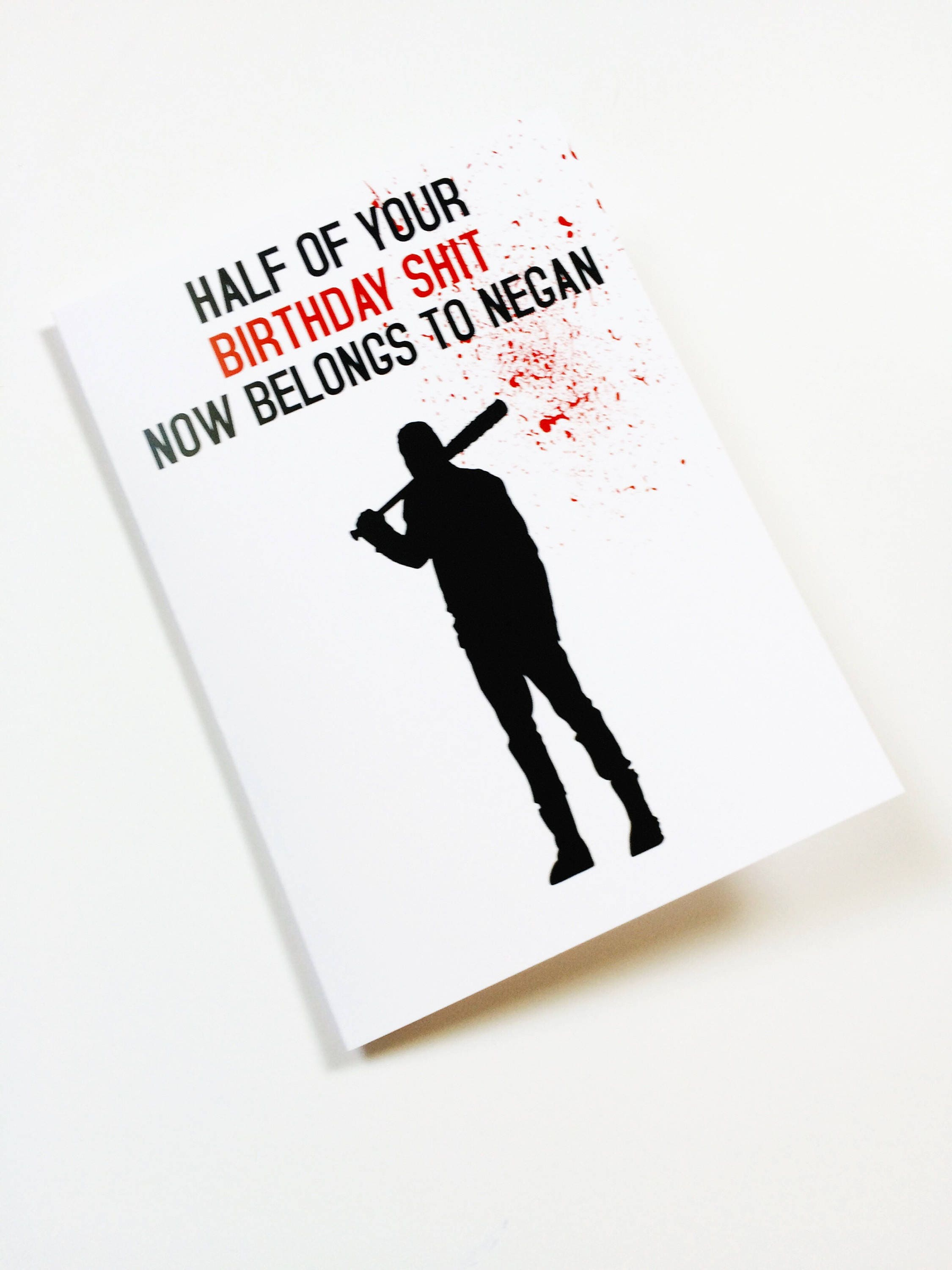Twd Birthday Negan Funny Inappropriate Birthday Greeting Etsy