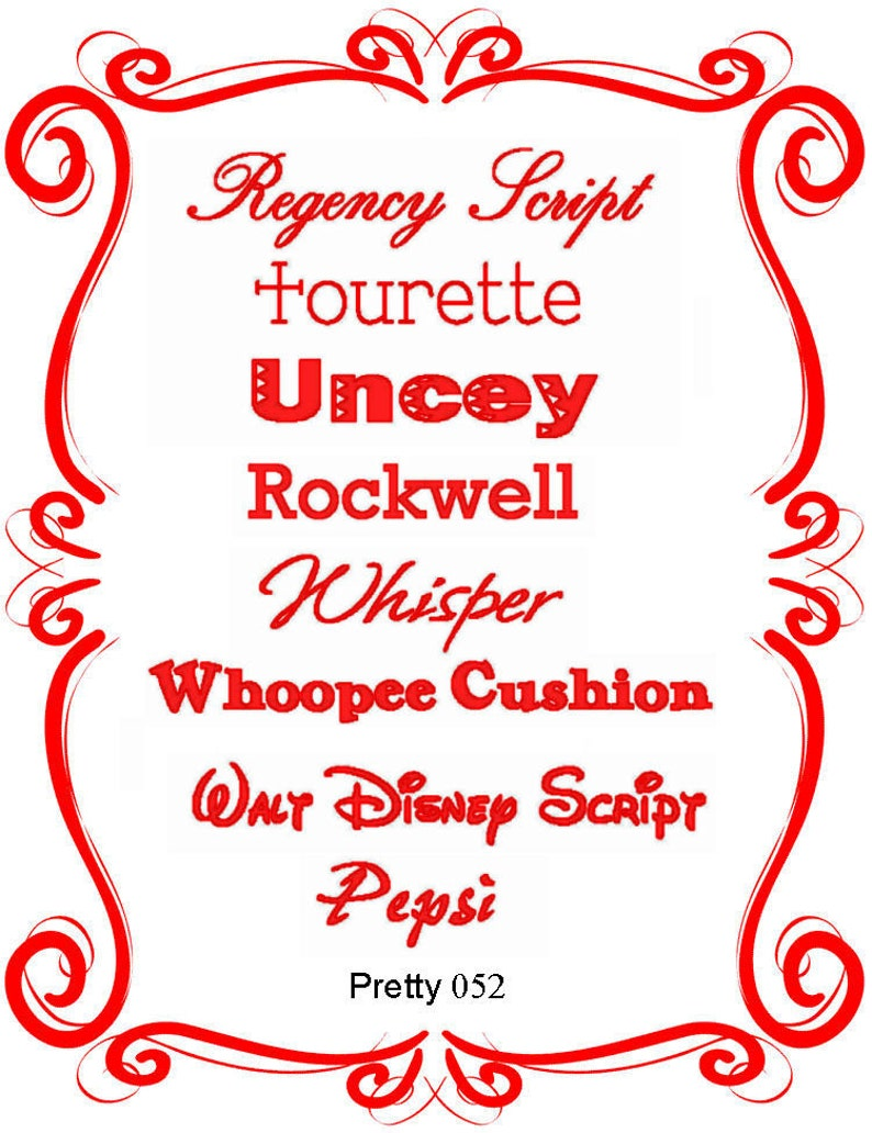Pretty Font Series 052 - Instant download - Machine Embroidery Fonts