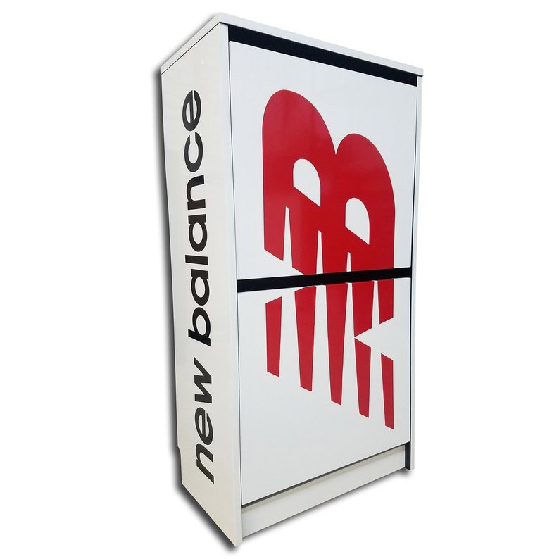f060dcd74b241 Red New Balance Shoe Storage Box Cabinet