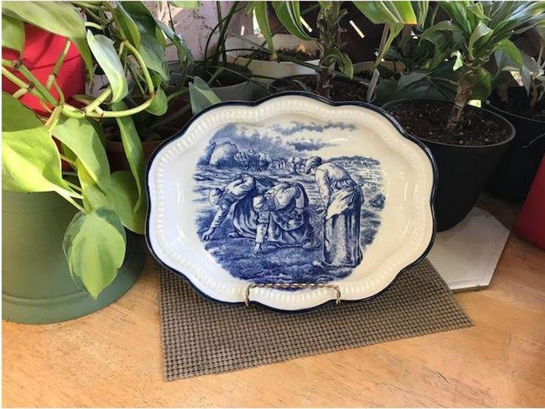 Japanese Ceramic Serving Platter Farm Workers Scene