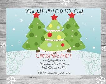 Invitacion Navidad Invitacion Imprimible Navidad Fiesta Etsy