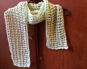 Openwork crocheted pale green dots scarf
