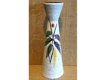 Vintage handpainted spindle vase by Scheurich, 520 28, West German pottery, abstract flower painting on off white, very mid century design!