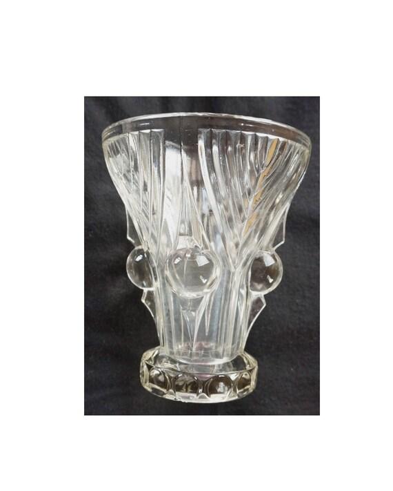Strong Art Deco Press Glass Vase Circa 1920 1930 Very Good Etsy